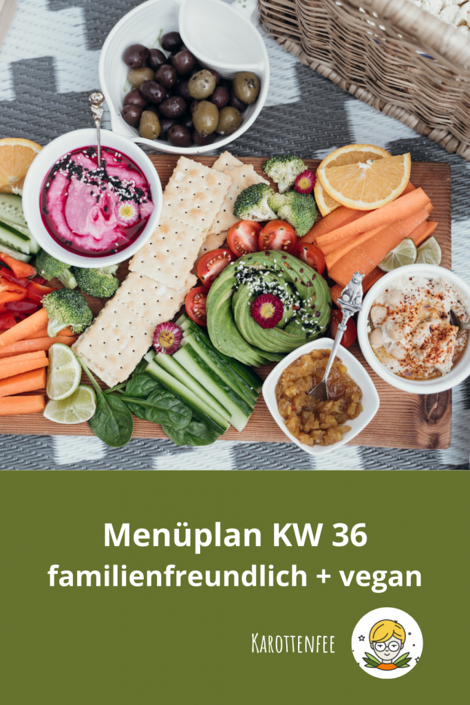 Pinterest-Pin: Menüplan KW 36 familienfreundlich + vegan