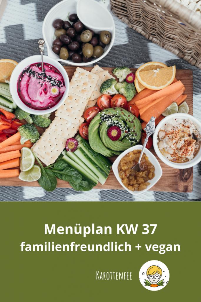 Pinterest-Pin: Menüplan KW 37 familienfreundlich und vegan