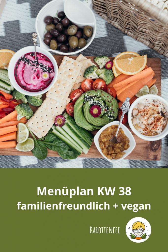 Pinterest-Pin: Menüplan KW 38 familienfreundlich und vegan